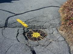 Storm drain repair before closeup