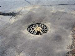 Storm drain repair after closeup